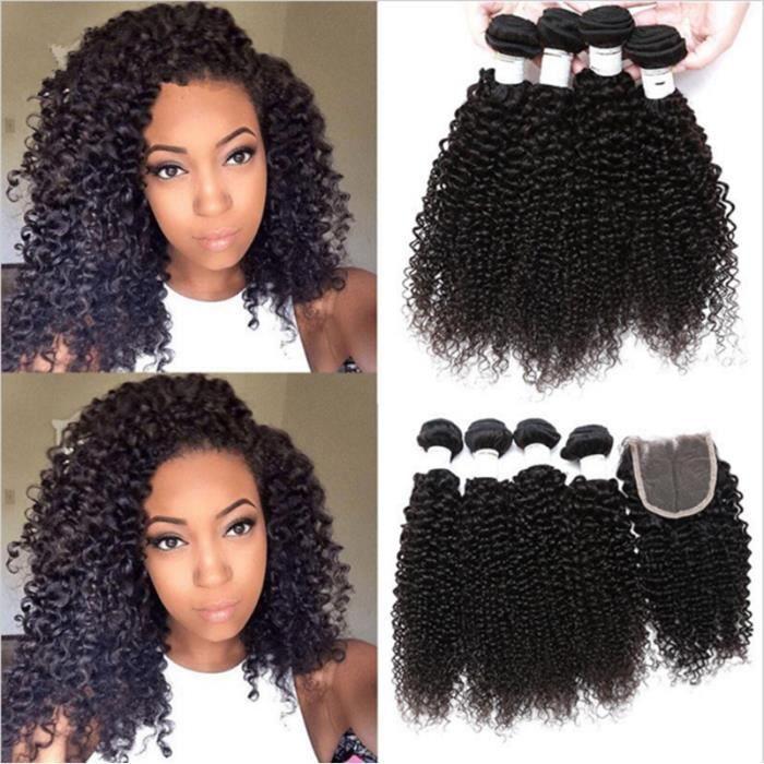 3 TISSAGES BRÉSILIEN 8A 100% HUMAN HAIR WEAVES KINKY CURLY 12-30 POUCE AVEC DENTELLE CLOSURE 4x4 Free Part 50g/pc