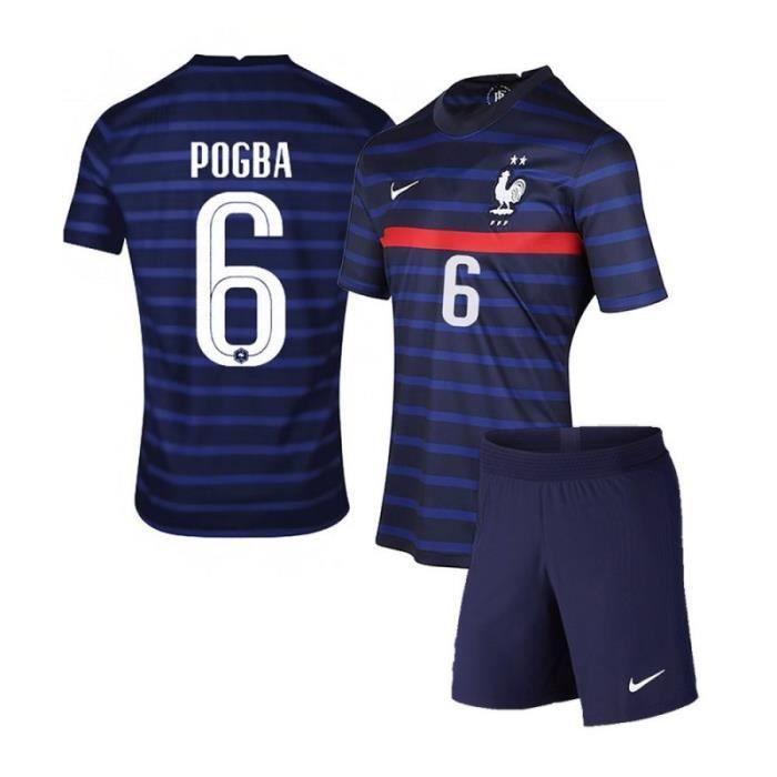 Maillot Equipe de France FFF 2 Etoiles 2020 2021 EURO Maillot et Pantalons Suit 6 Paul Pogba Pas Cher Enfants Garçon