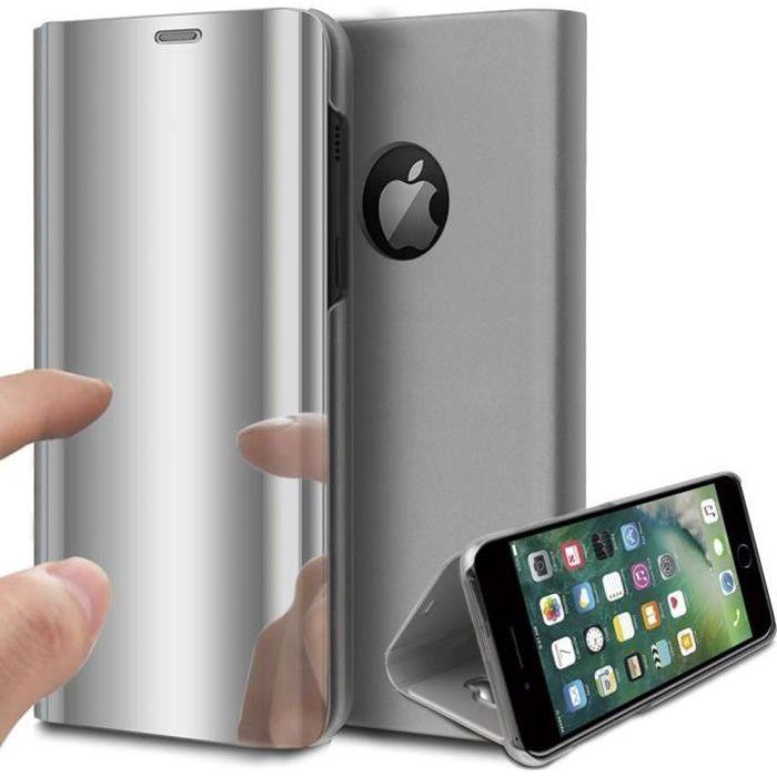 Coque iPhone 8 Rabat Transparent Support Argent