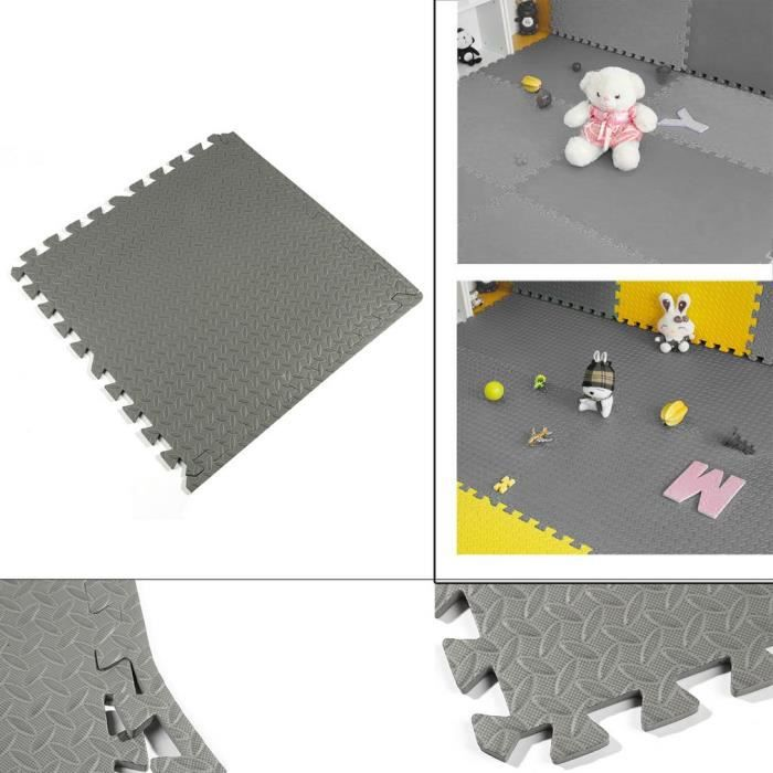 48 PCS Tapis De Sol Gris Nouveau Interlocking Eva Tapis De Mousse Salle Garage Gym Forme carré