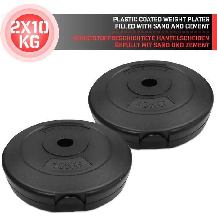 Physionics® Disques de Poids - Set de 2 x 10 kg, Ø 27 mm, avec Revêtement en Plastique - Plaques pour Haltères, Fitness, Musculation