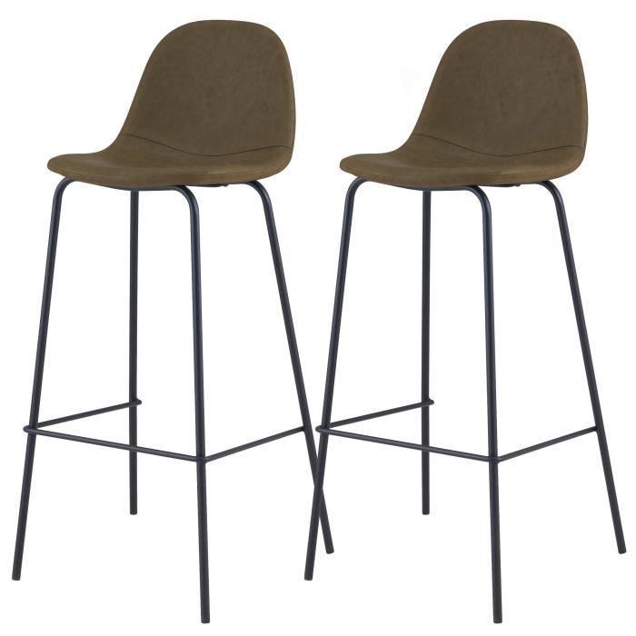 Chaise de bar Henrik vert kaki 75 cm (lot de 2)