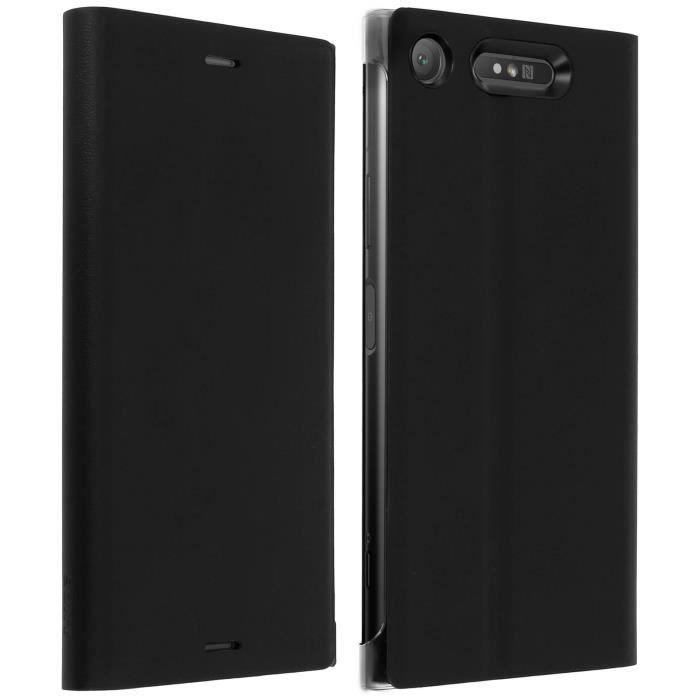 Etui Xperia Z1 Housse d'Origine Clapet Folio Stand Noir Protection Intégrale