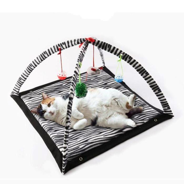 Tapis de Jeu Mobile Tente de Chat Activité Lit Rembourré pour Animal Domestique avec Jouet Suspendus Clochettes/Balles/Souris Cadeau