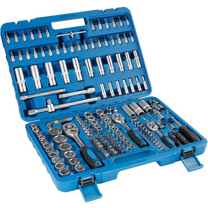 TECTAKE Boîte à Outils 171 Pièces (Douilles + Outils à Cliquet) en Acier Chrome Vanadium Bleu