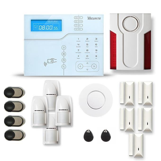 Alarme maison sans fil SHB V2 4 à 5 pièces mouvement + intrusion + détecteur de fumée + sirène extérieure - Avec GSM