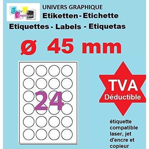 100 Planches de 24 étiquette rondes diamètre 45 mm = 2400 étiquettes Ø 45 - Blanc Mat - pour imprimantes Laser et Jet d'encre - Feui