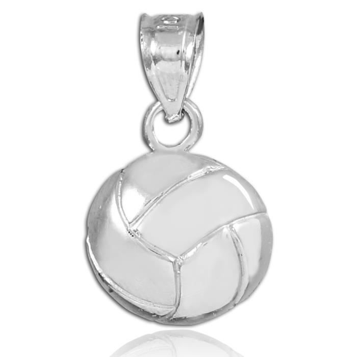 Collier Pendentif14 ct Or 585/1000 sport Blanc Volleyball Charm