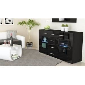 bahut design laqu noir oui non non achat vente. Black Bedroom Furniture Sets. Home Design Ideas