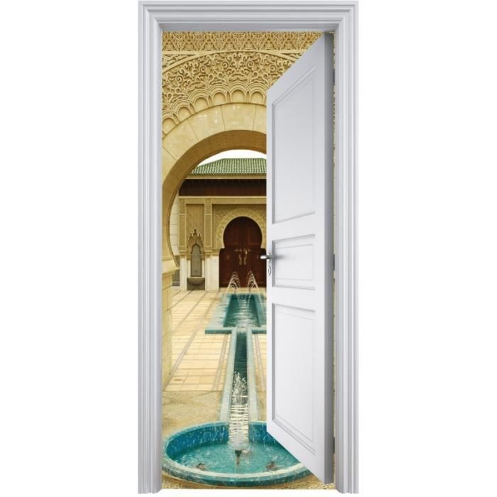 Sticker porte trompe l 39 oeil d co fontaine orientale Stickers porte interieure maison