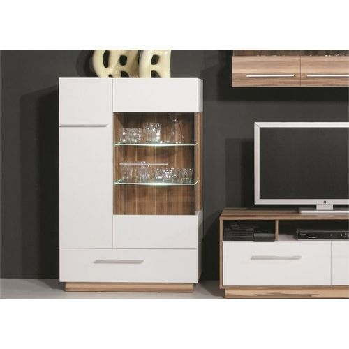 buffet haut moderne white achat vente buffet bahut buffet haut 2 portes 1 tiroir verre. Black Bedroom Furniture Sets. Home Design Ideas