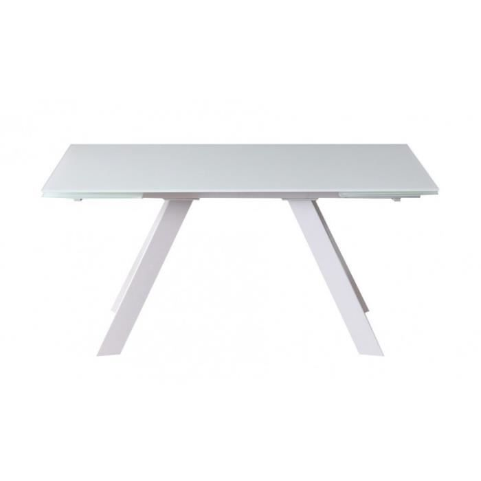 15adde77b6052d TABLE extensible en verre blanc 240 cm piétement central - PRISME ...