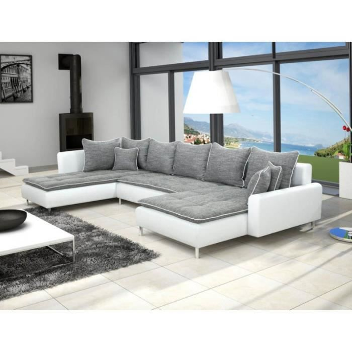 canap d 39 angle panoramique en u dante gris 7 8 places achat vente canap sofa divan. Black Bedroom Furniture Sets. Home Design Ideas