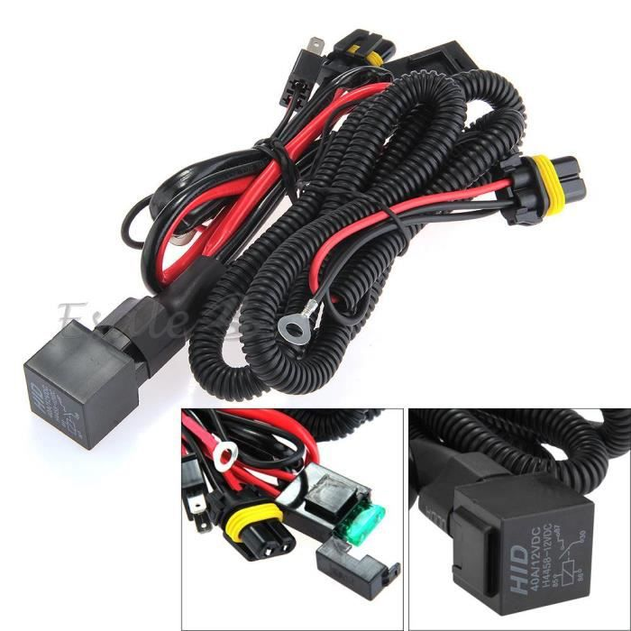 12v 40a harnais fil cable cablage avec relais fusible pour hid h7 lampe voiture achat vente. Black Bedroom Furniture Sets. Home Design Ideas