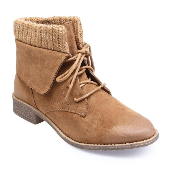 Marron et laine revers 39 Achat en Bottines col camel à rxdeBoC