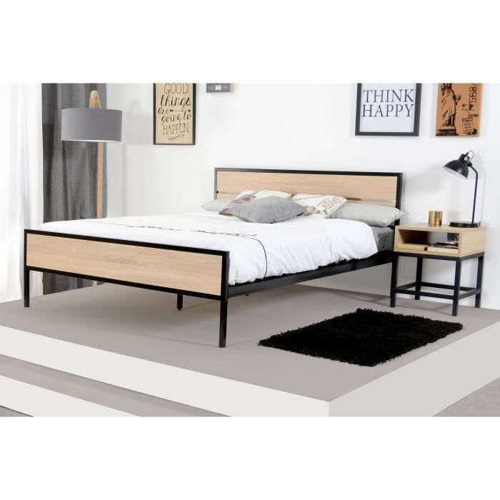 namur lit adulte industriel d cor bois et noir l 140 x l 190 cm achat vente structure de. Black Bedroom Furniture Sets. Home Design Ideas