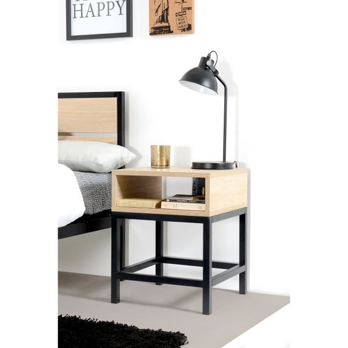 namur chevet industriel d cor bois l 40 cm achat. Black Bedroom Furniture Sets. Home Design Ideas