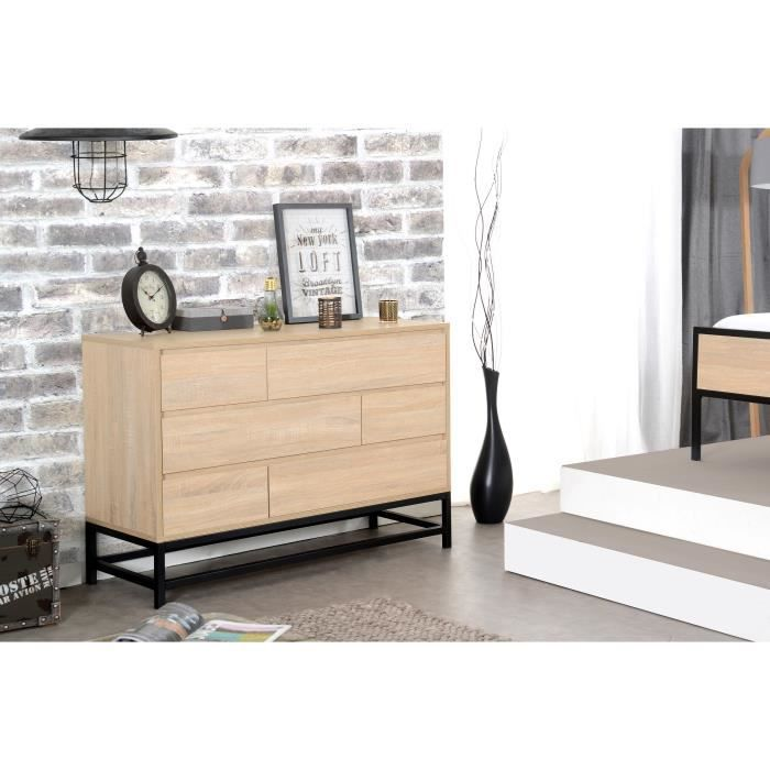 namur commode de chambre style industriel d cor bois l. Black Bedroom Furniture Sets. Home Design Ideas