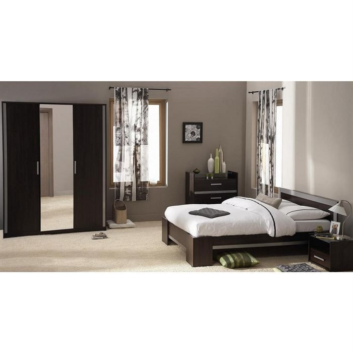 Chambre compl te maeva weng gris achat vente lit for Chambre adulte complete wenge