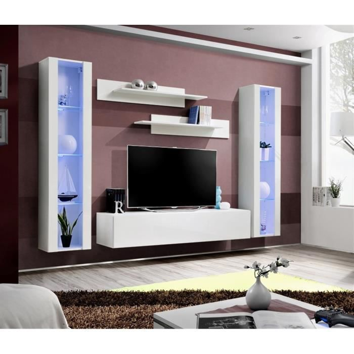 meuble tv fly a2 blanc blanc laqu achat vente meuble tv meuble tv fly a2 blanc bla. Black Bedroom Furniture Sets. Home Design Ideas