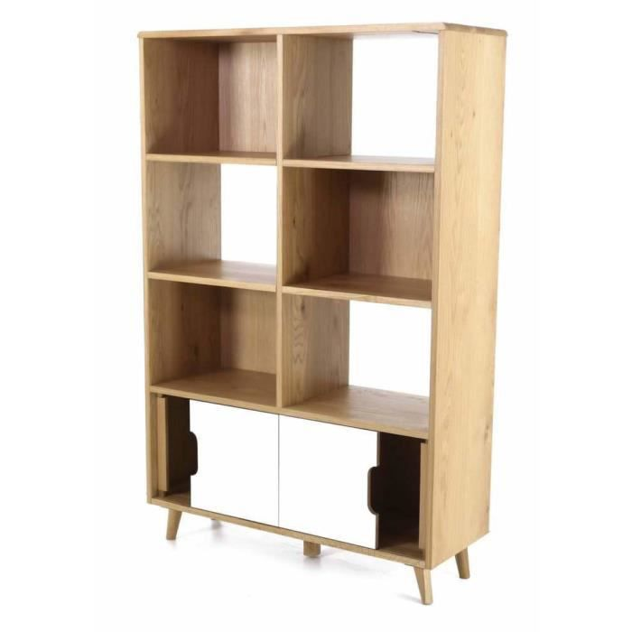 biblioth que 2 portes coulissantes et 8 niches elfy achat vente biblioth que biblioth que 2. Black Bedroom Furniture Sets. Home Design Ideas