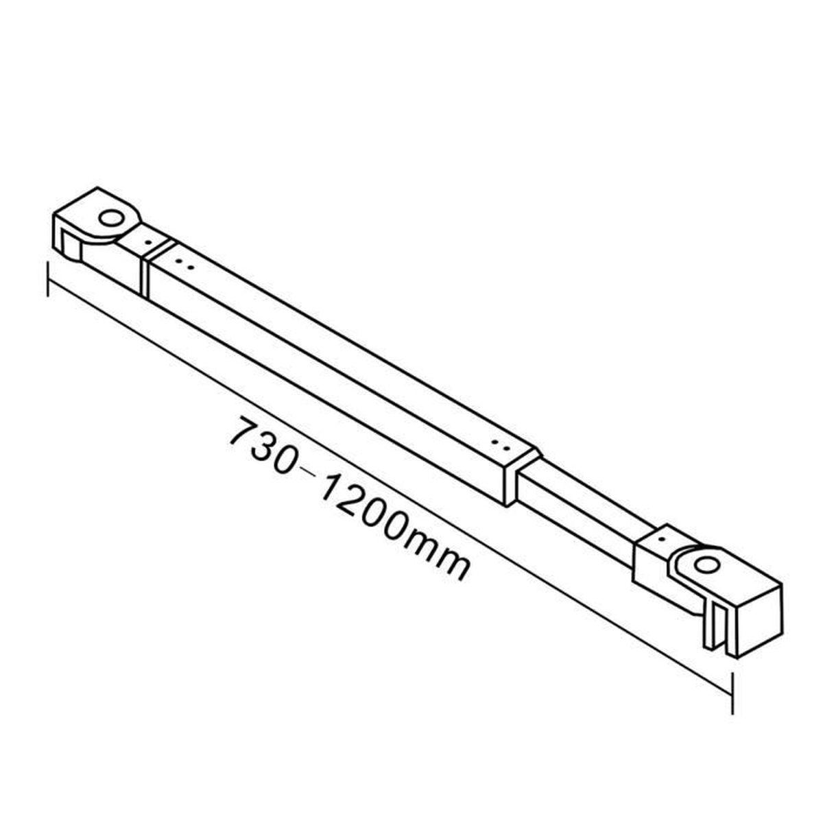 760x1850x6mm paroi de douche walk in verre anticalcaire avec barre fixation extensible