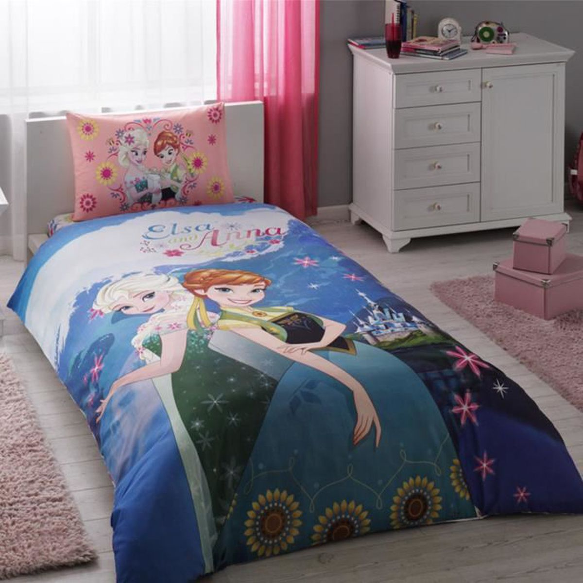disney elsa anna imprim e 100 coton 1 personne parure de couette 3 pcs housse de couette. Black Bedroom Furniture Sets. Home Design Ideas