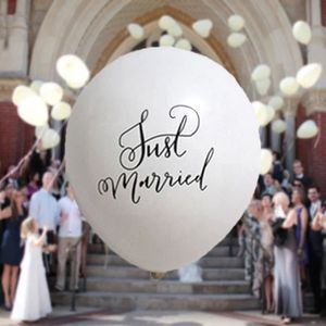 "20 Just Married Noir 12/"" Hélium Qualité Perlée Mariage Ballons PA"