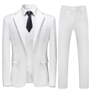 COSTUME - TAILLEUR Costume homme mariage 3 Pièces blanc smoking homme ca47e5e4ba1