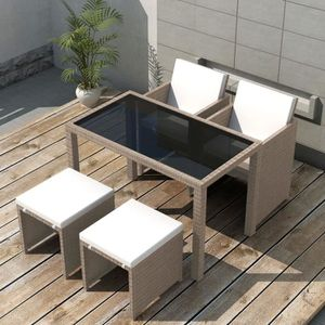 Ensemble table et chaise de jardin en resine tresse gris