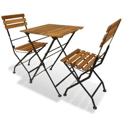 Bois Jardin Table 2 d'acacia Marron 1 Ensemble et Chaise Pliables de Festnight en WI9D2YEeH