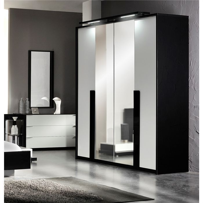 aroma armoire 4 portes 2 miroirs laqu noir blanc achat vente armoire de chambre aroma. Black Bedroom Furniture Sets. Home Design Ideas