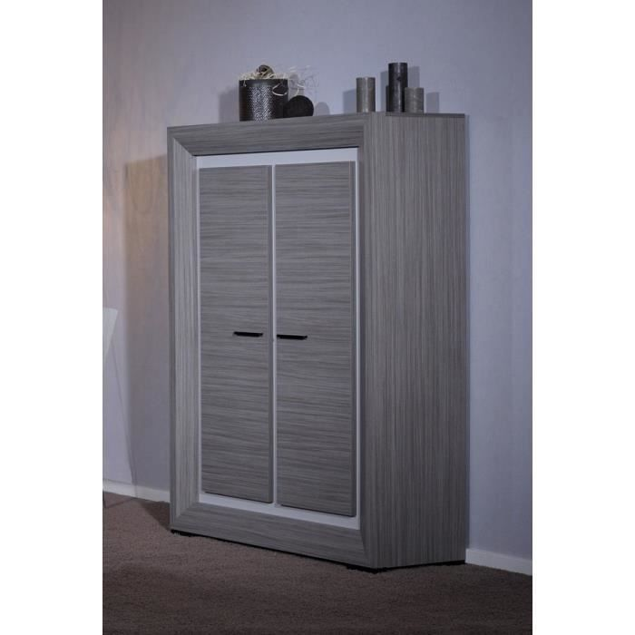 lynea buffet haut bois gris et laque l125 cm achat vente buffet bahut lynea meuble haut. Black Bedroom Furniture Sets. Home Design Ideas