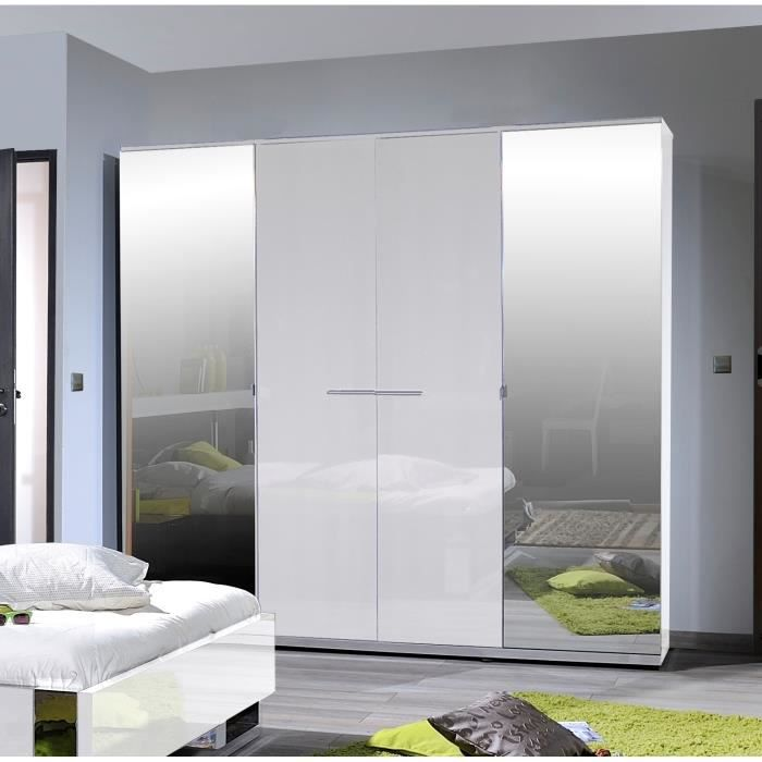 sunrise armoire de chambre 223 cm laqu blanc brillant. Black Bedroom Furniture Sets. Home Design Ideas
