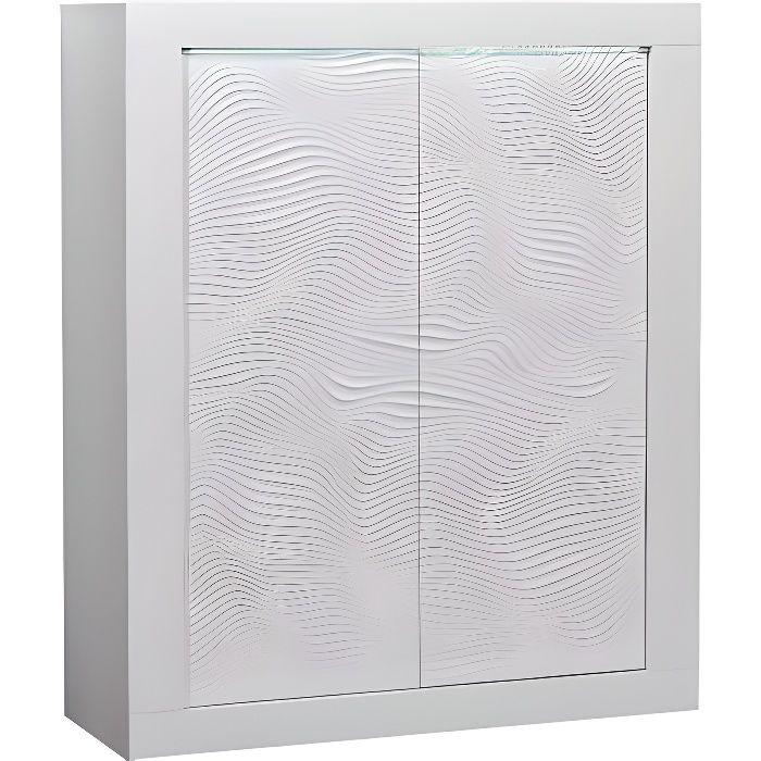 KARMA - Meuble de rangement 2 portes - Laqué blanc brillant - L 121 x P 45 x H 145 cm