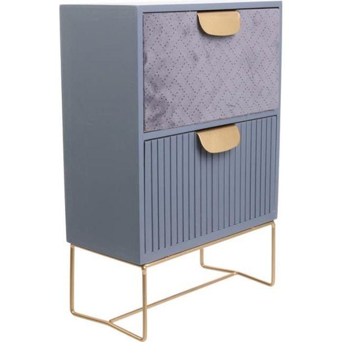Rangement de table 2 tiroirs - Organisateur L30 cm - Bois et velours - Bleu 20 cm Gris