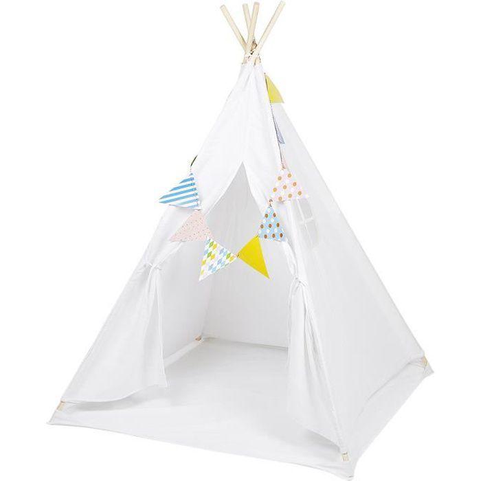 Tente de Jeux Tipi Blanc Portable Exterieur avec Tapis et Guirland pour Fille 120*120*150cm
