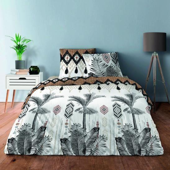 Pack complet Palmier naturel housse de couette pour lit 140 x 190 cm 100% coton / 57 fils/cm²