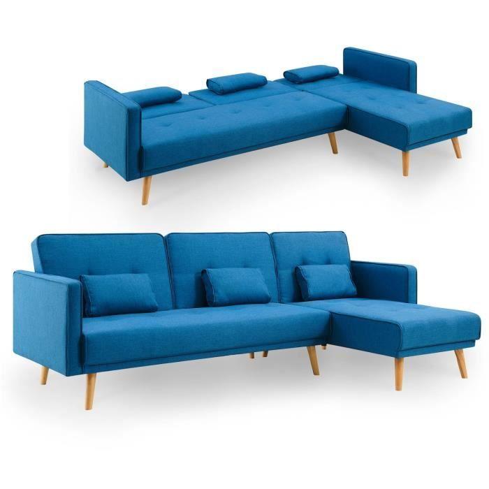 LENA - Canapé d'angle en tissu bleu convertible modulable angle réversible
