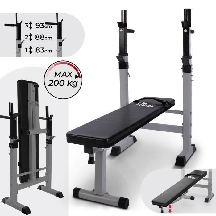 Banc de Musculation avec Support de Barres avec Dips Entraînement Individuel Pliable Réglable Banc de Poids Fitness FITecom