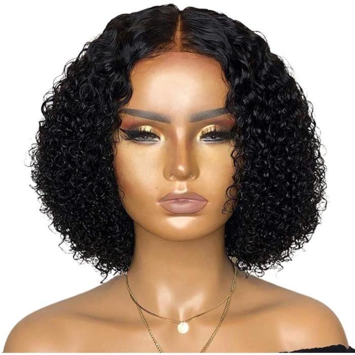 Perruque avant de lacet bouclée courte, perruques de fermeture de dentelle bouclée perruques de cheveux humains partie centrale 559