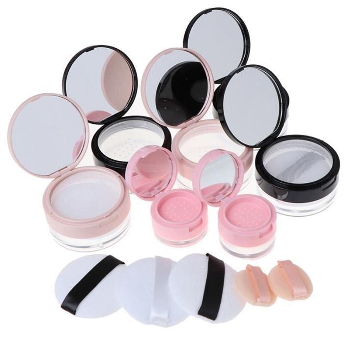 Boîte de poudre en plastique Portable vide Pot de poudre en vrac avec tamis miroir tamis cosmétique Pot en vrac voyage maquillag