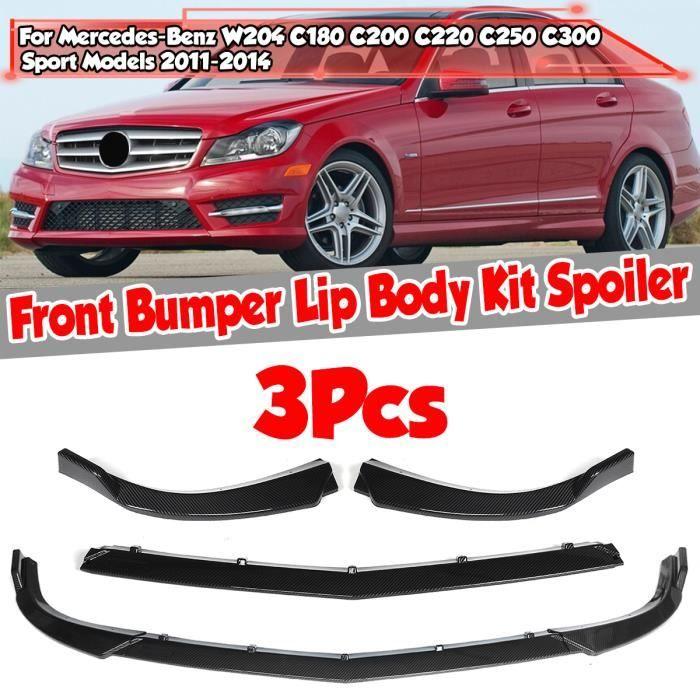 3pcs Set Lèvre de pare-chocs avant Spoiler Fibre de carbone Pour Mercedes-Benz W204 C180 C200 C220 C250 C300 Sport Models 2011-2014