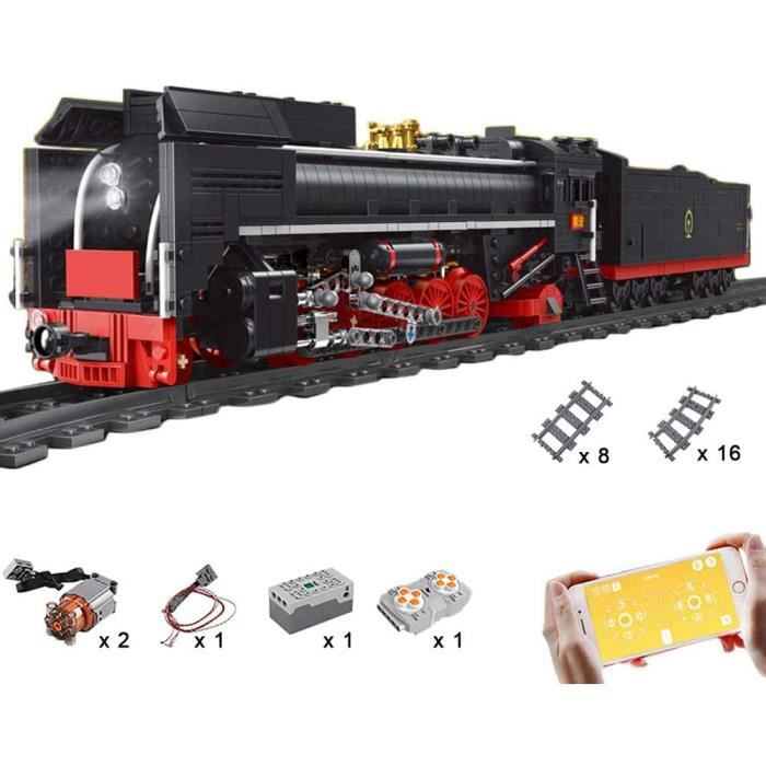 Jeux de construction LODIY City Train Electrique T&eacutel&eacutecommandé - 1552 Pi&egraveces Locomotive à Vapeu496