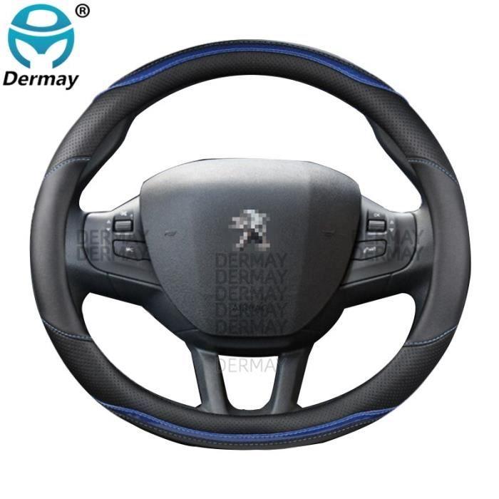 Couvre volant,Pour Peugeot 2008 2013 ~ 2018 an couverture de volant de voiture en fibre de carbone + PU cuir Auto - Type Bleu