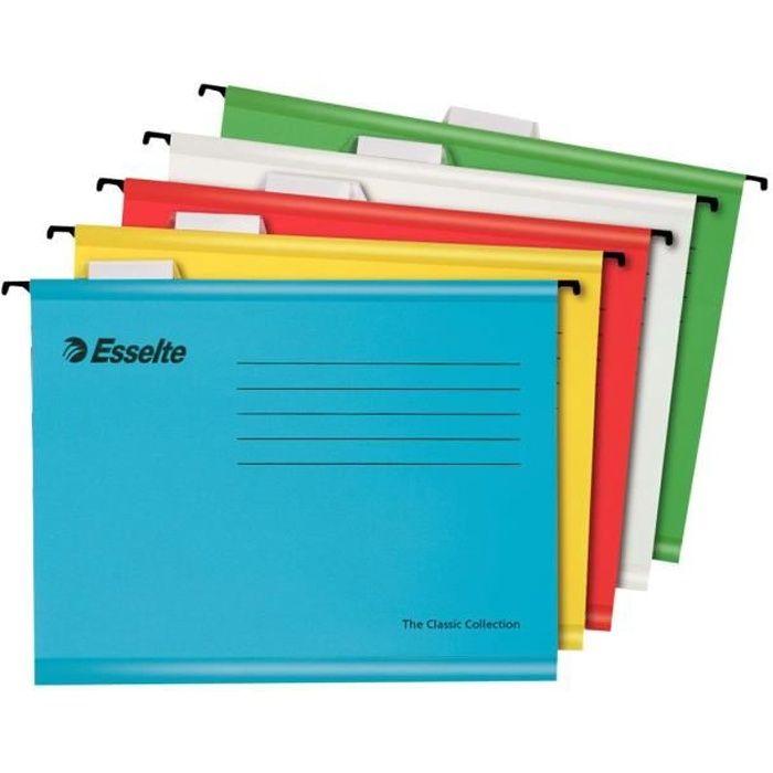 Pendaflex Dossier suspendu base-V A4 pour 150 feuilles à onglets blanc, bleu, jaune, rouge, vert (pack de 10)