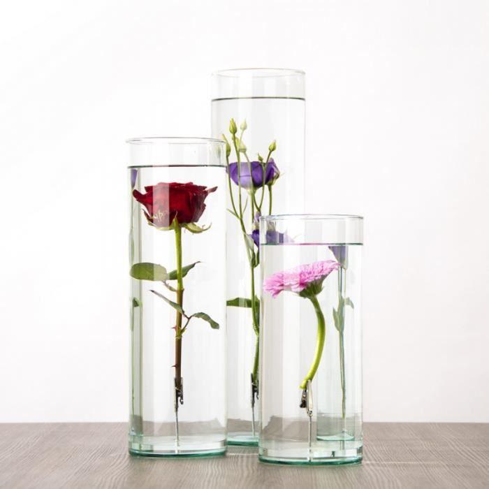 Statuettes & sculptures - Vase Fleur immergée - D 12,2 x H 30 cm - Verre Transparent
