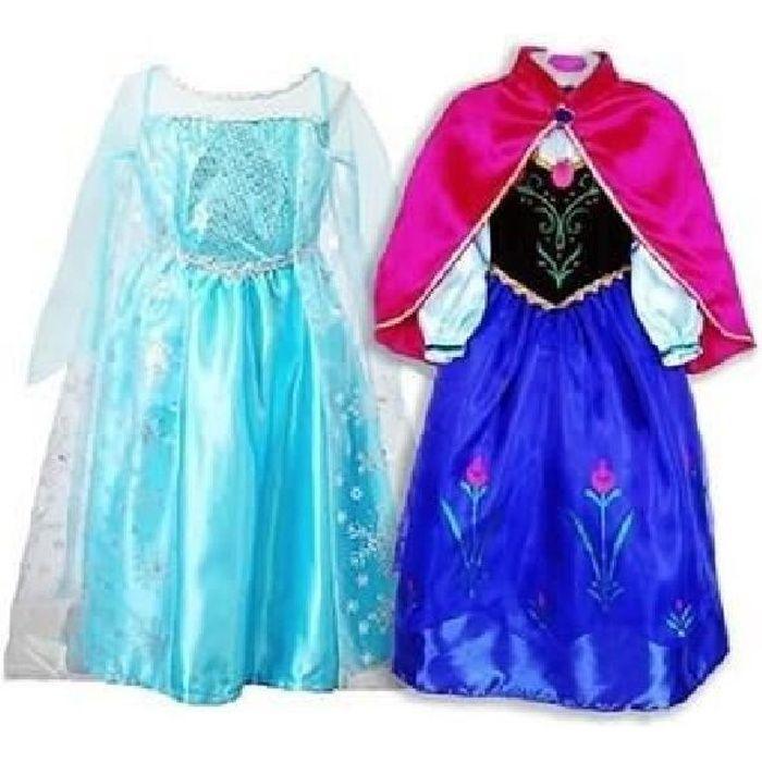 Deux Robe Elsa Anna Déguisement Reine Neiges Deux Robes Costume de Reine des Neiges Pour Enfants 5-6 ans