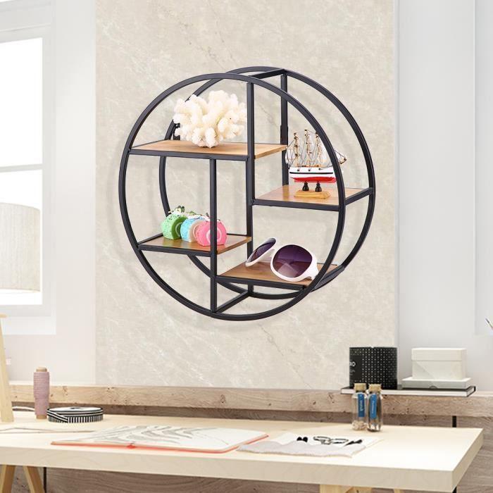 Étagère murale en métal ronde, Décoration de maison en bois de style industriel en fer forgé étagère murale-PAT