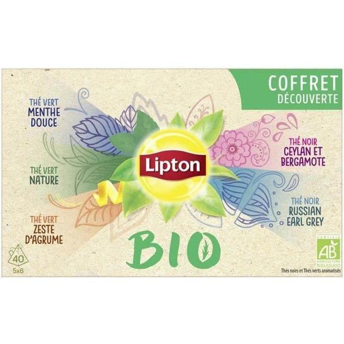 LIPTON Coffret de thé Découverte - 5 variétés x 8 sachets Pyramide